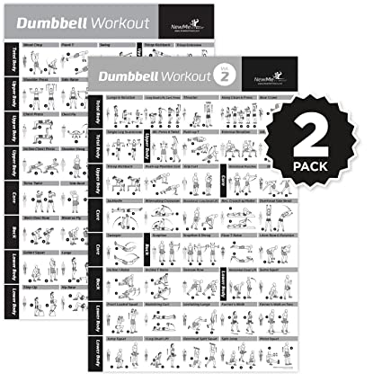 VOL 1+2 Dumbbell Exercise Poster 2-Pack Laminated - Workout
