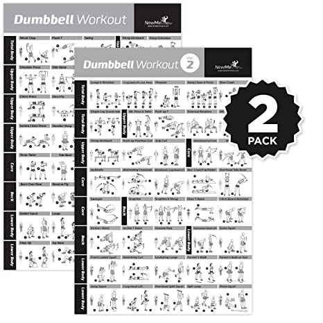 Amazon Vol 12 Dumbbell Exercise Poster 2 Pack Laminated