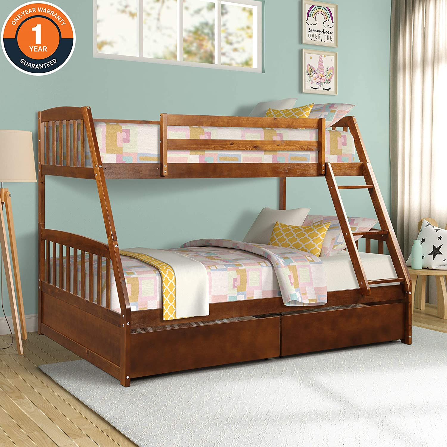 Wood Twin Over Full Bunk beds, with 2 Storage Drawers, Sturdy Wooden Frame Ladder, and Safety Rails Convenience to Take Care of Your Children