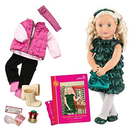 e5f83bc01e382 Amazon.com: Our Generation Audrey Ann-Deluxe Christmas Doll with Book 18