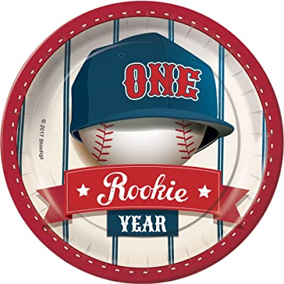 Rookie Year Baseball First 1st Birthday Dessert Plates Party Tableware Supplies Decorations: Home & Kitchen