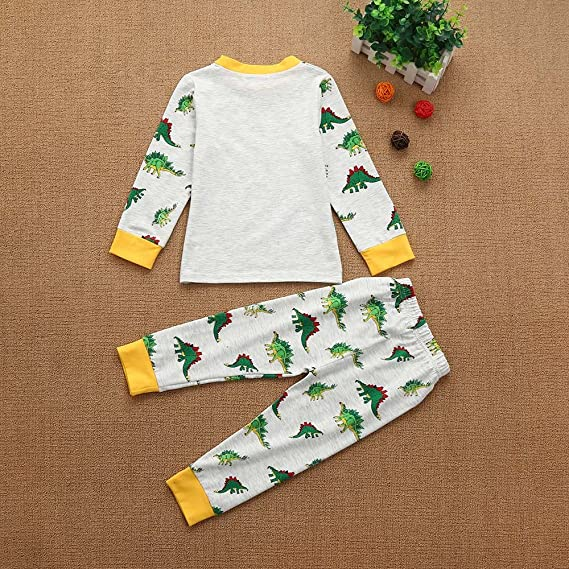 YanHoo Conjunto de Ropa para niños Dinosaurio de Dibujos Animados para niños Top + Pantalones Largos Traje de Dos Piezas Pijama de Servicio a Domicilio Ropa ...