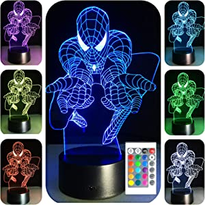 SerkyHome 3D Illusion Night Light for Kids 7 Colors with Remote-Led Table Lamp(Spiderman)