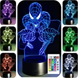 3D Night Light for Kids 7 Colors 3D LED Illusion Lamp With Remote Control-Bedroom Table Lamp-Spiderman