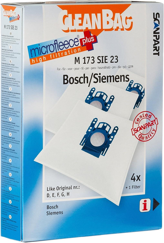 Cleanbag M 173 SIE 23 - Accesorio para aspiradora (Bosch Siemens, 4 pieza(s)): Amazon.es: Hogar