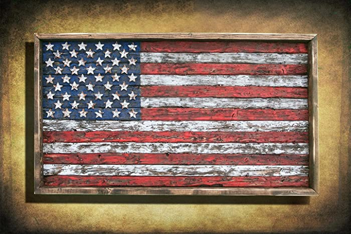 Excellent Amazon.com: American Flag, Framed version, Weathered Wood, One of  PB94