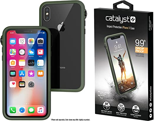 the best attitude 3b399 a4fbc Catalyst iPhone X Case Impact Protection Compatible iPhone Xs, Military  Grade Drop and Shock Proof Premium Material Quality, Slim Design, Army Green
