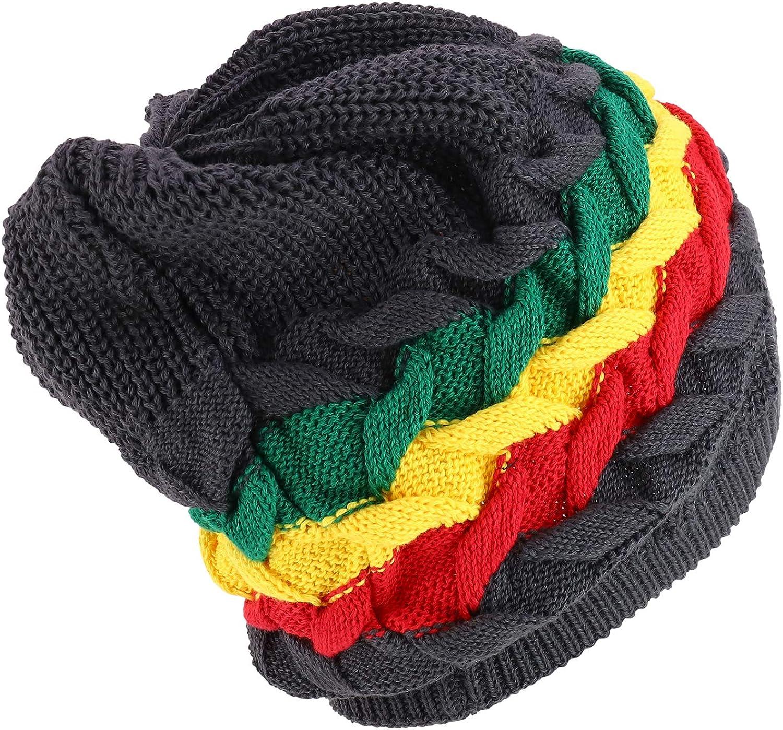 Armycrew RGY Cable Knit Dreadlock Deep Skull 100/% Cotton Rasta Beanie