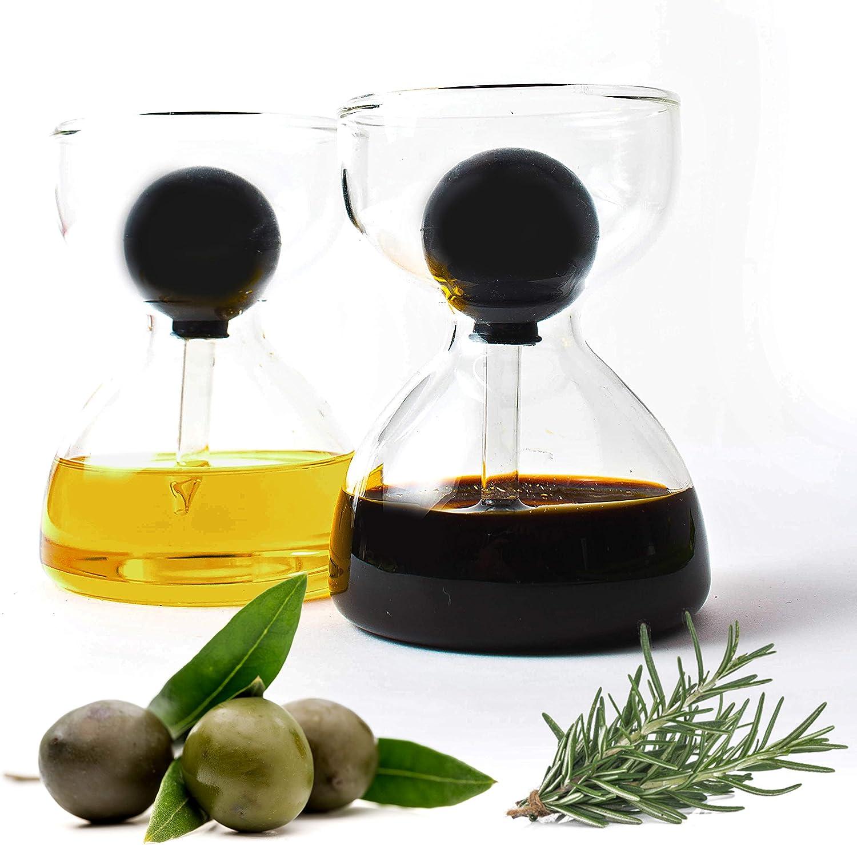 Dispensador de aceite y vinagre con pipeta de cristal perfecto para ciabatta y ensalada H/&D DropDolio juego de 2 unidades con 200 ml cada uno