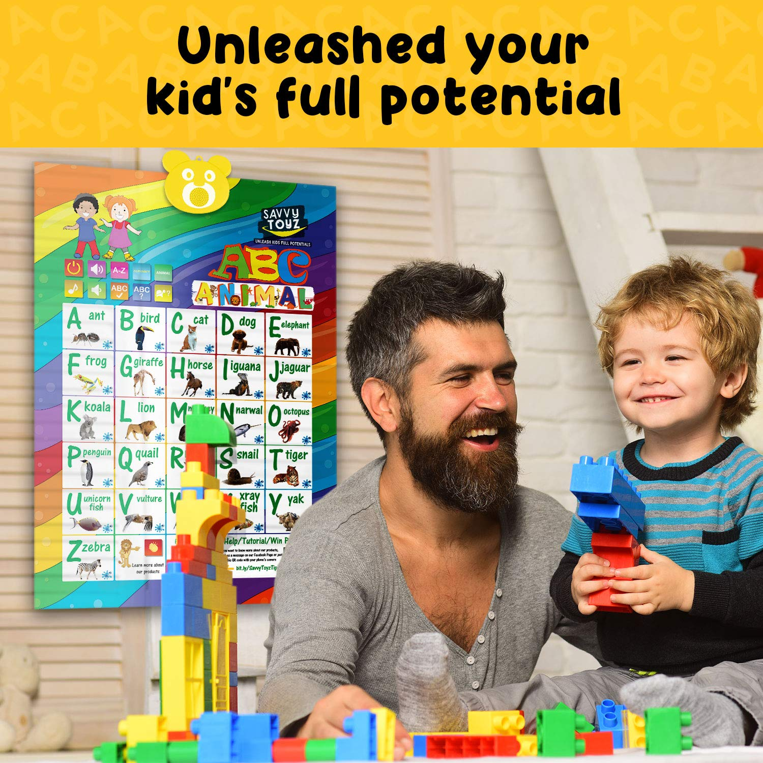 SavvyToyZ Educational Toys for 2-5 Year Olds - Help Your Toddler's Development and Education with Preschool Learning Toys - Fun Talking Interactive Poster for Entertainment and Learning Alphabet by SavvyToyZ (Image #5)