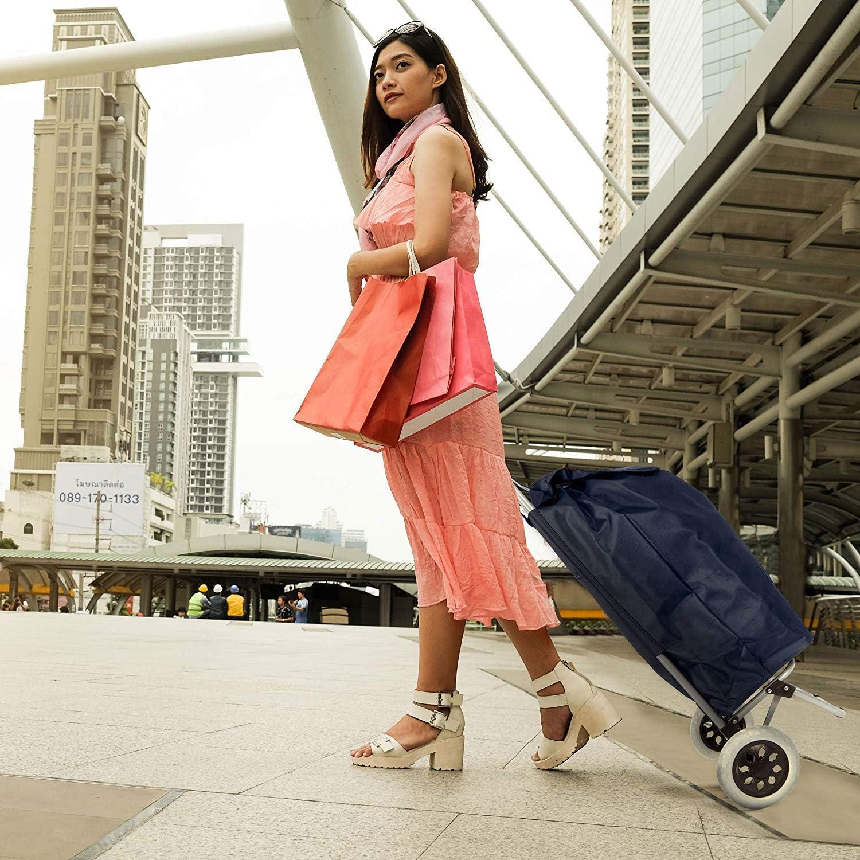 Hoppa 47L Stabiler Einkaufstrolley klappbar Shoppingtrolley multifunktional Einkaufsroller abnehmbare Tasche Rollen Einkaufswagen Wagen