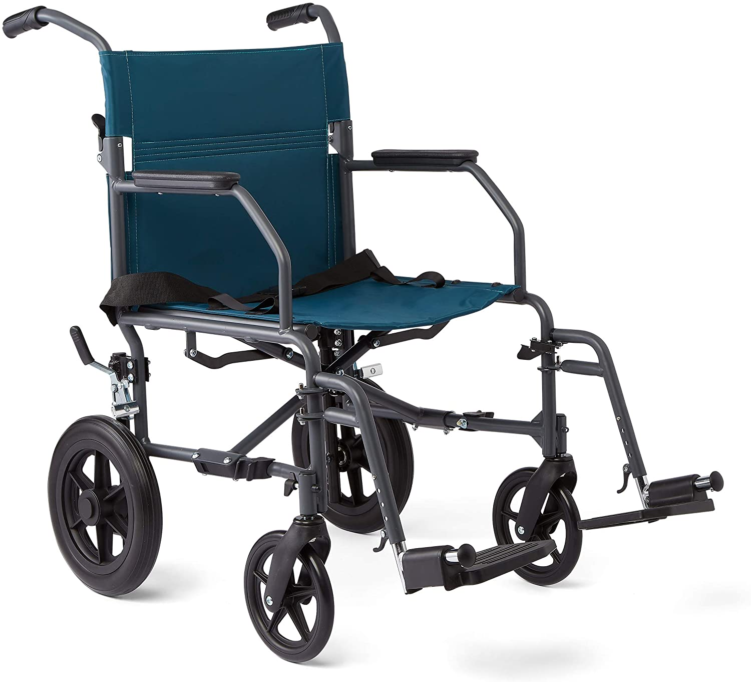 B07G8PK6BC Medline Transport Wheelchair with Lightweight Steel Frame, Microban Antimicrobial Protection, Folding Chair is Portable, Large 12 inch Back Wheels, 19 inch Wide Seat, Teal 81eQI5aNIBL