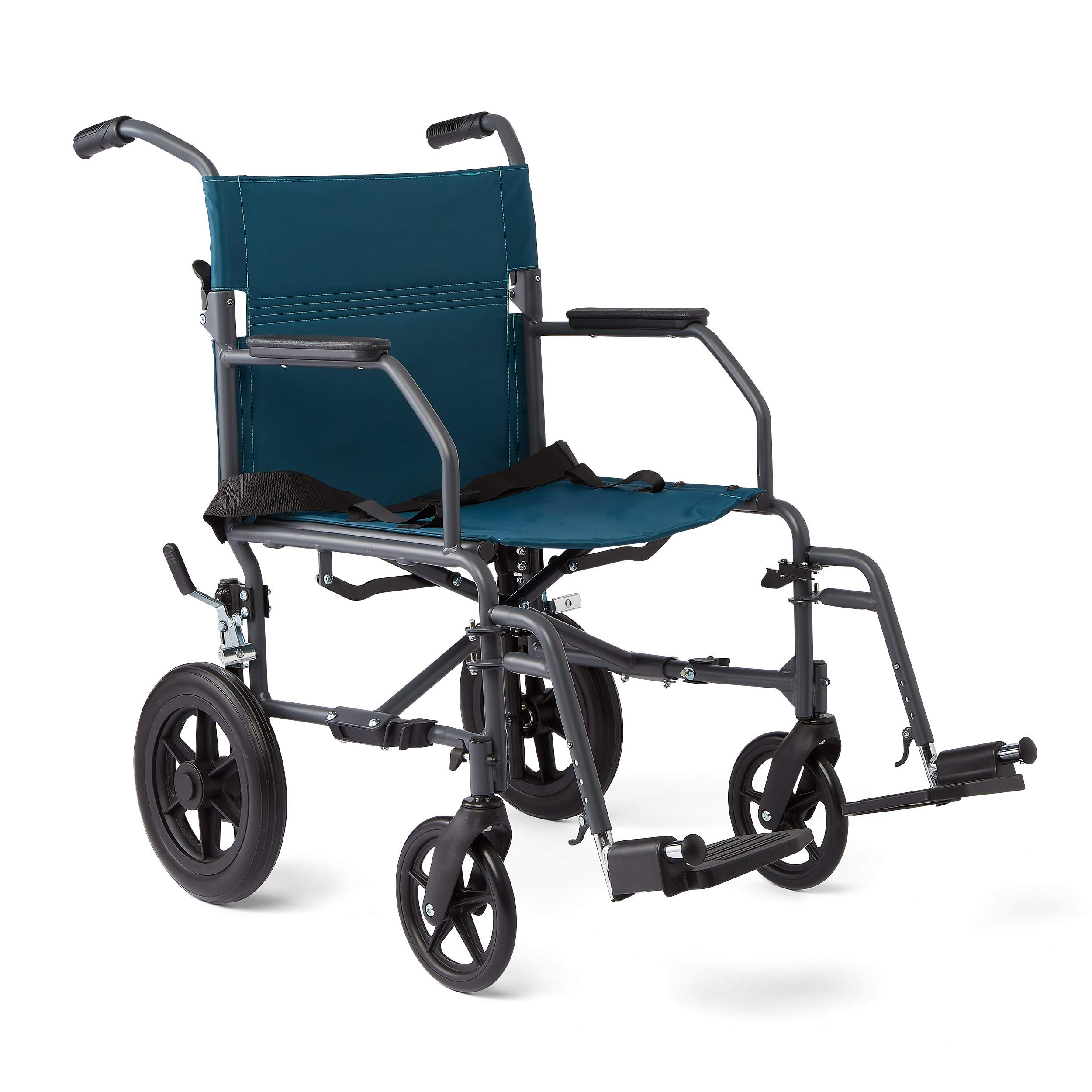 Medline Transport Wheelchair with Lightweight Steel Frame, Microban Antimicrobial Protection, Folding Chair is Portable, Large 12 inch Back Wheels, 19 inch Wide Seat, Teal by Medline