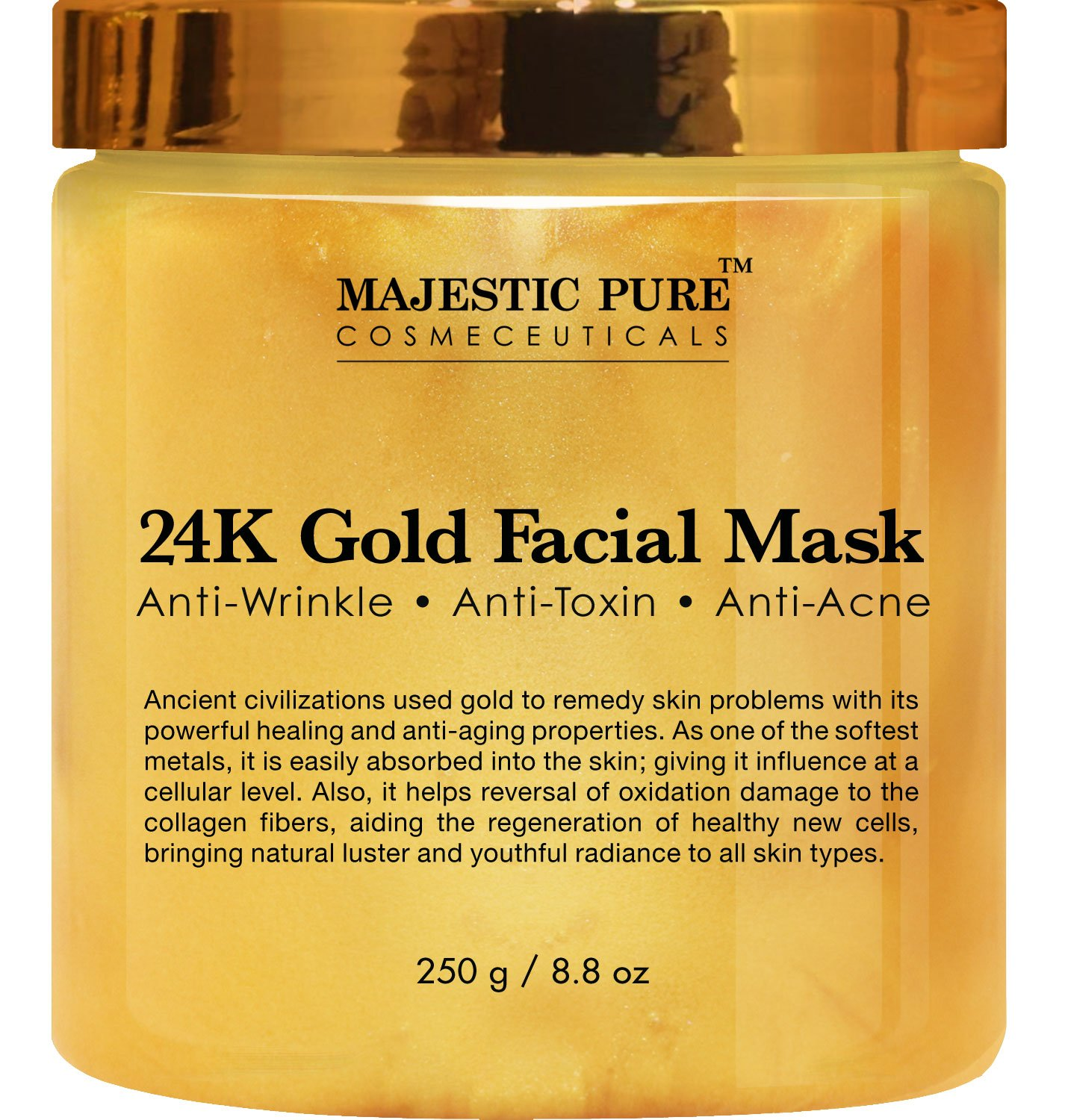 Majestic Pure Gold Facial Mask, Ancient Gold Face Mask Formula Reduces the Appearances of Wrinkles and Fine Lines, Helps with Acne and Firming Up Skin- 8.8 Oz