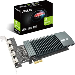 ASUS NVIDIA GeForce GT 710 Graphics Card (PCIe 2.0, 2GB GDDR5 Memory, 4X HDMI Ports, Single-Slot Design, Passive Cooling)
