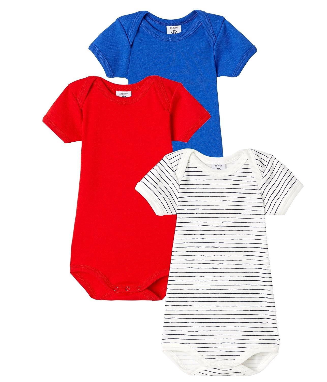 Petit Bateau Baby Boys Short-Sleeved Bodysuit Set of 3 Sizes 3//M-36//M Style 46657