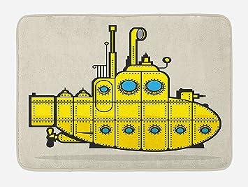 Hiaopp Yellow Submarine Badteppich Retro Grunge Artsy Marine Schiff  Industrie Nautischen Ocean Thema Plüsch Badezimmer Dekor