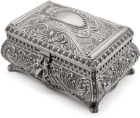Vintage Rectangle Trinket Jewelry Box Metal Gift Storage Organizer