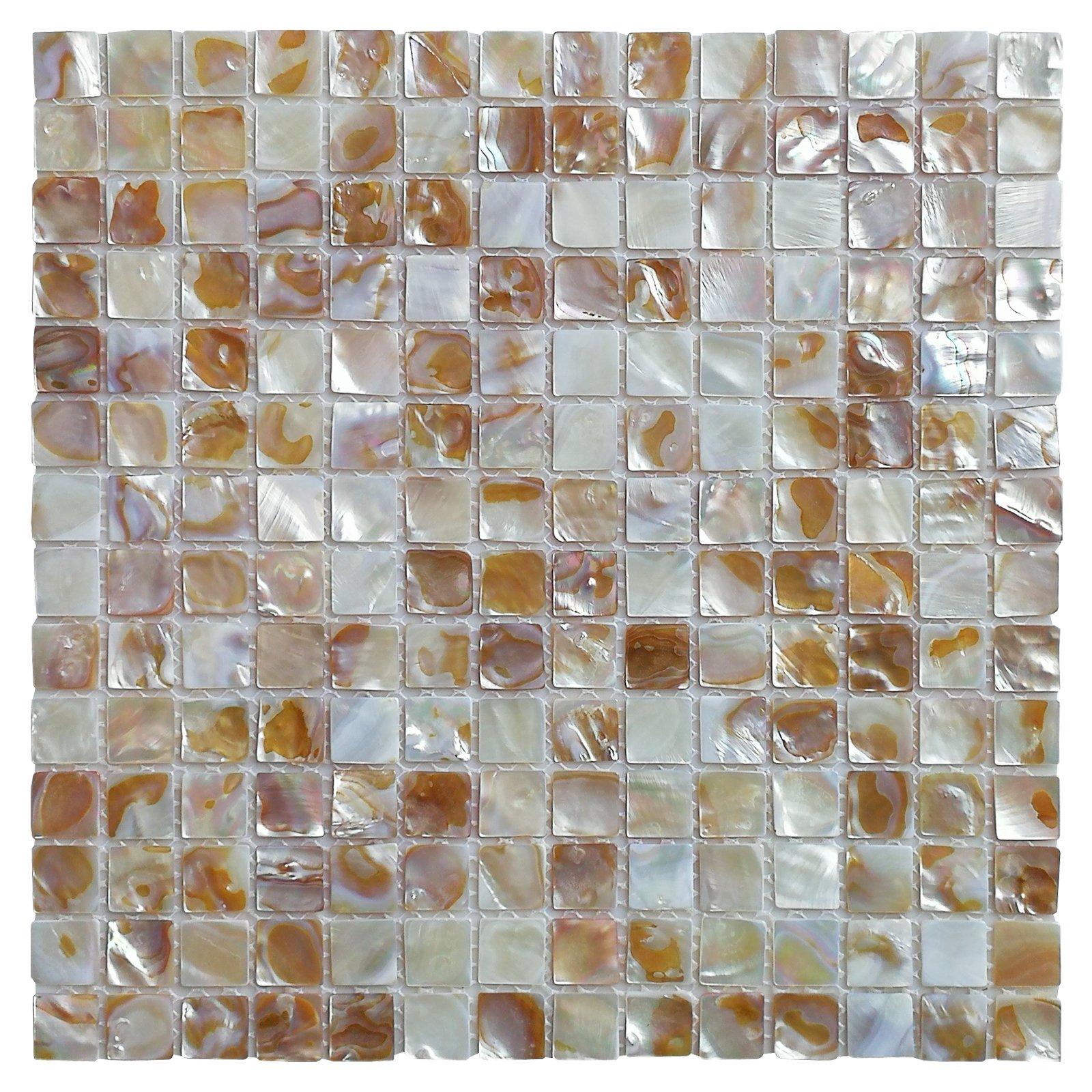 Art3d 6-Pack Natural Mother of Pearl Backsplash Tile for Kitchen, Bathroom Walls, Spa Tile, Pool Tile, 0.8''x0.8'' Chip by Art3d (Image #1)