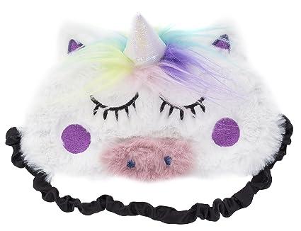 Fringoo - Máscara de dormir de felpa suave y bonita 3D, diseño de unicornio de