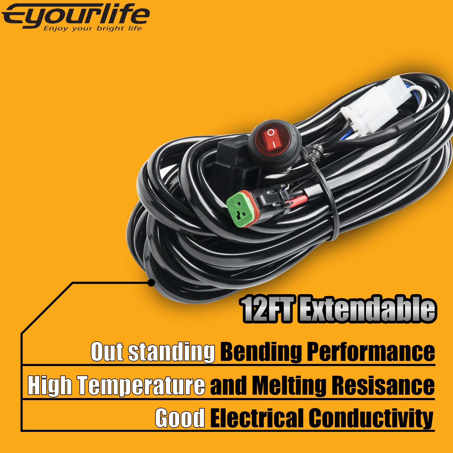 Wiring Harness Eyourlife Heavy Duty Deutsch Dt Connectors Accessories 12v 40a Hid Led Light Bar Driving Kit 300w Waterproof Fuse Relay On Off Rocker Switch 14awg 12ft Length