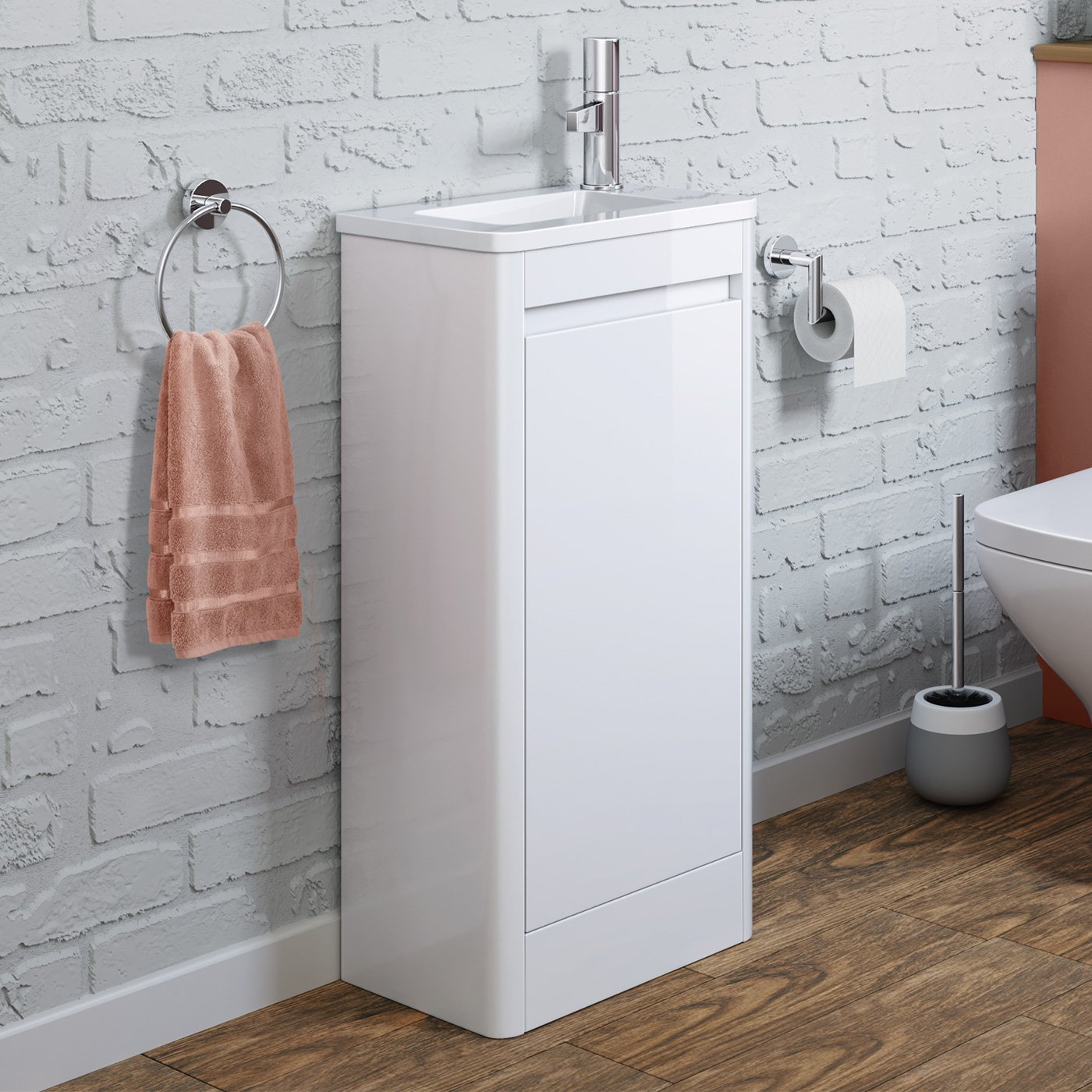 iBathUK Space Saving Gloss White Floor Standing Cloakroom Vanity Unit Right Hand Basin Sink Storage