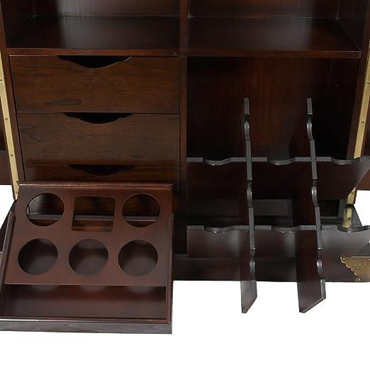 amazoncom oriental furniture korean antique style liquor cabinet wine bar kitchen dining amazoncom oriental furniture korean antique style liquor