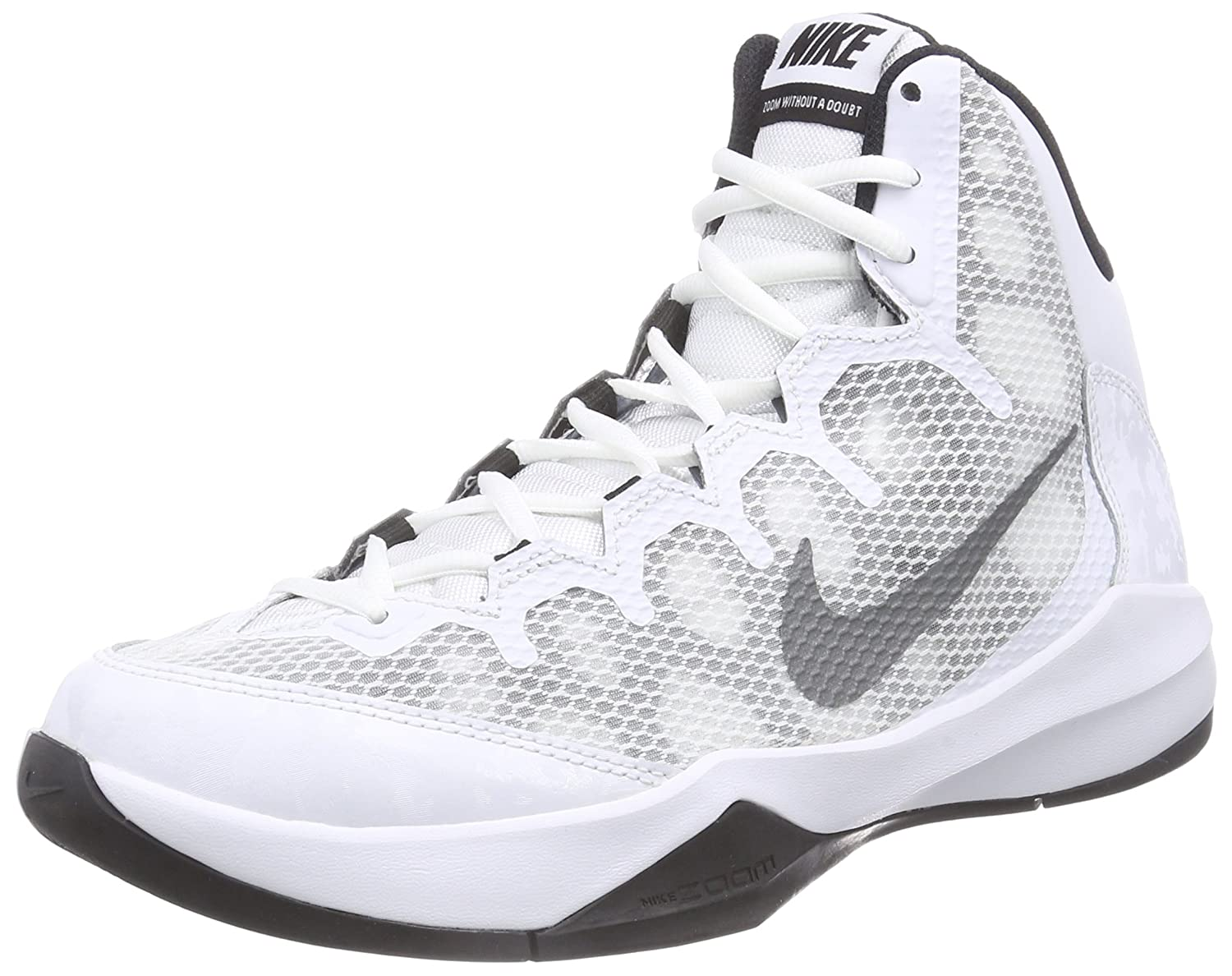 NIKE Men's Zoom Without A Doubt Basketball Shoe B00Q6YKCXY 8 D(M) US|White / Reflective Silver-black-cool Grey