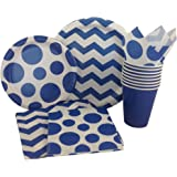 Blue & White Chevron Dot Party Supply Pack! Bundle Includes Paper Plates, Napkins, Cups for 8 Guests