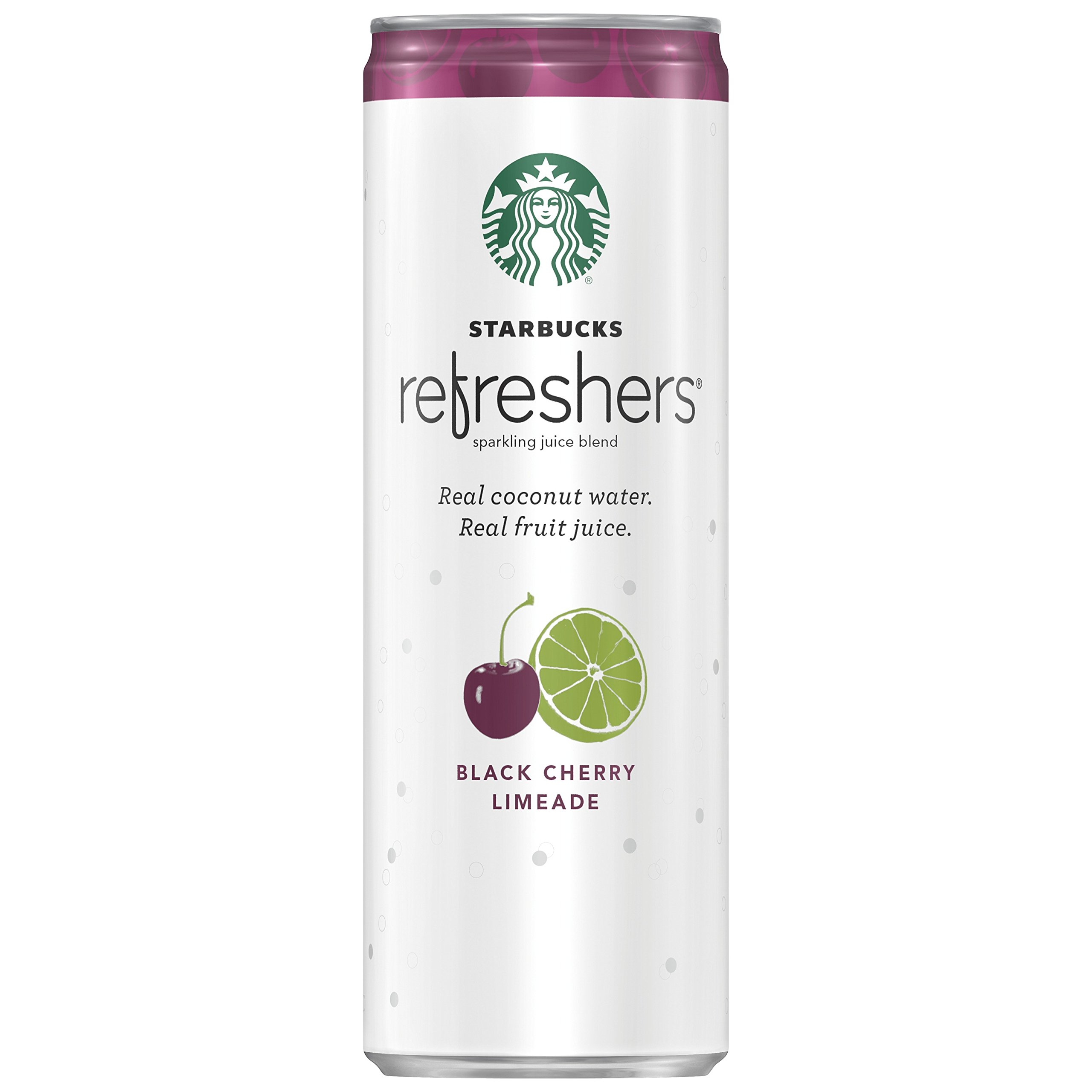 Starbucks Refreshers, Black Cherry Limeade with Coconut Water, 12 Ounce Cans, (Pack of 12) (Packaging May Vary)