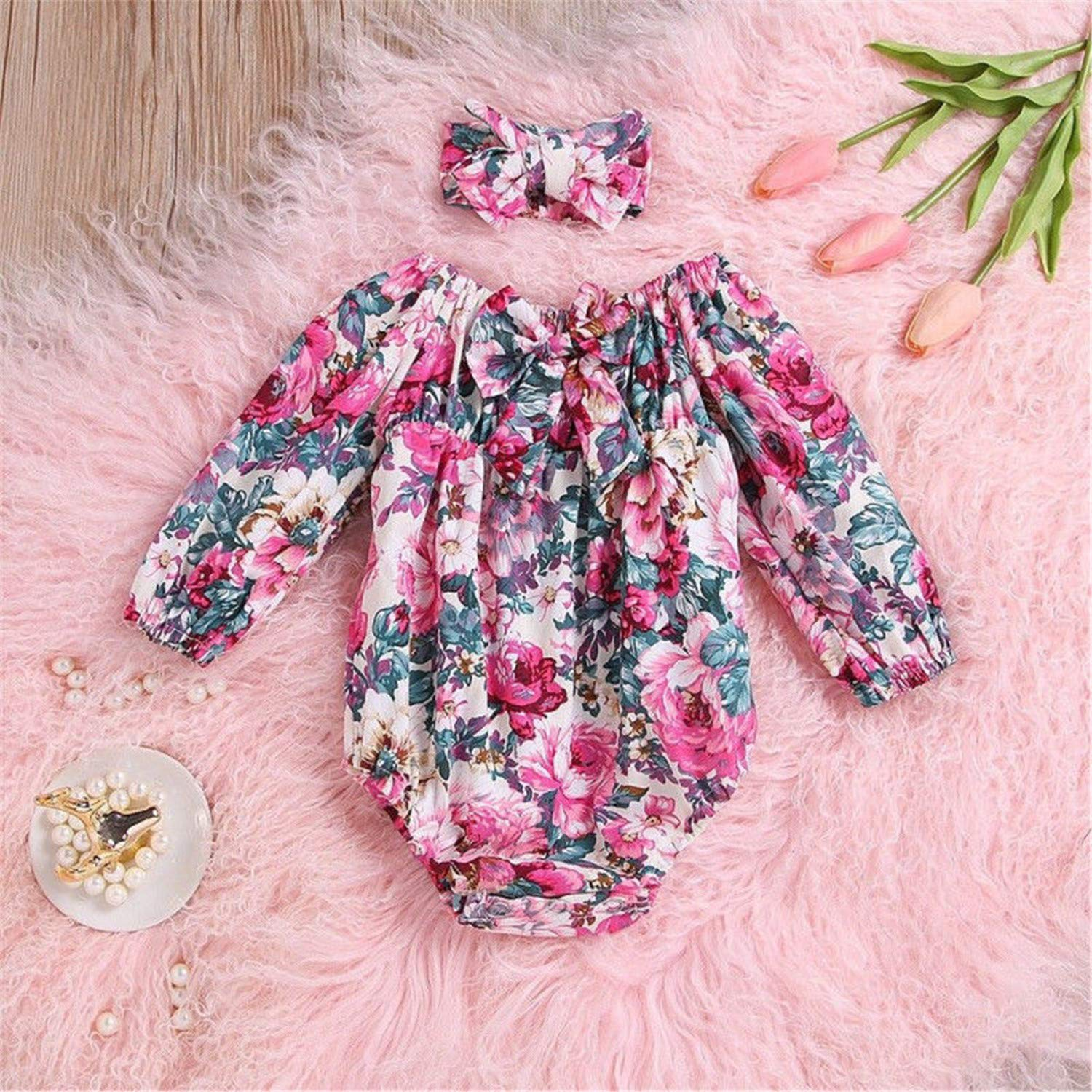 b1bd97b473dde Amazon.com: Infant Newborn Baby Cute Girls Floral Bow Knot Romper Long  Sleeve Jumpsuit Headband Outfits: Clothing