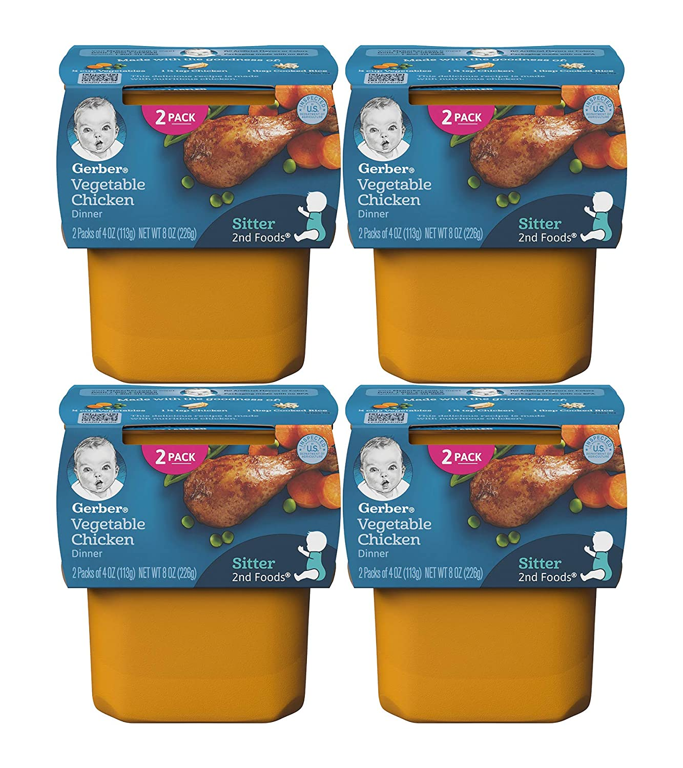 Gerber 2nd Foods, Vegetable Chicken Dinner, 4 OZ Tubs (2 CT/Pack) (Pack of 4)