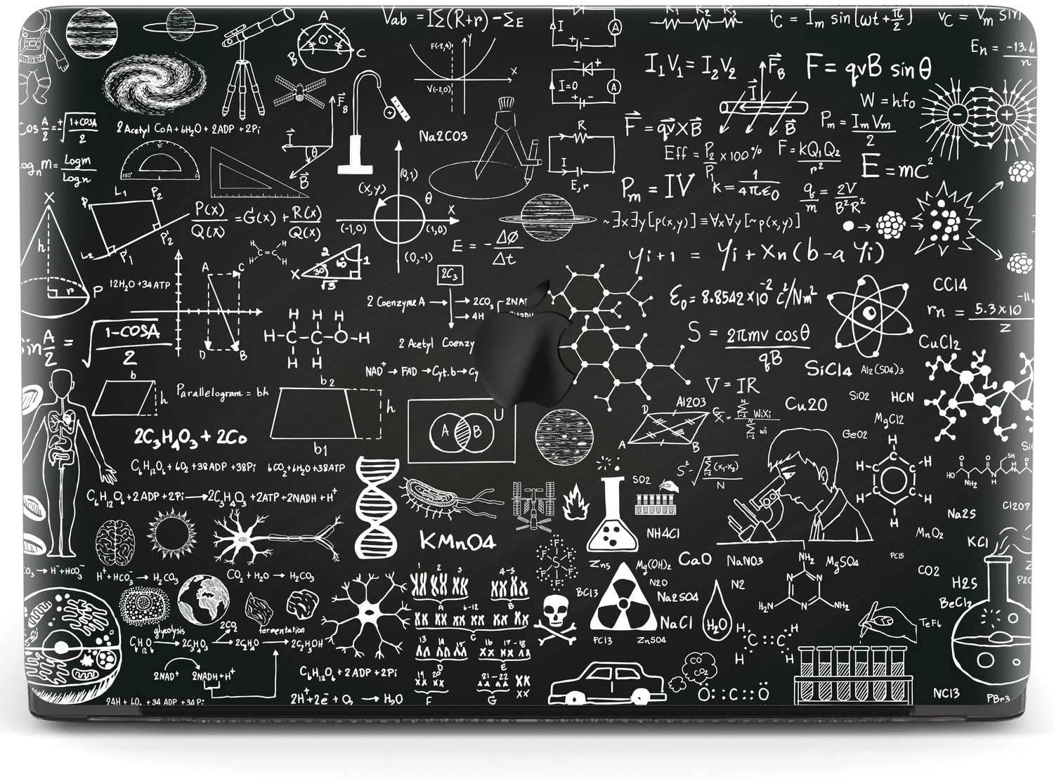Mertak Hard Case for Apple MacBook Pro 16 Air 13 inch Mac 15 Retina 12 11 2020 2019 2018 2017 Pattern Mathematics Clear Black Protective Science Touch Bar Cover Physics Plastic Nerd Print Design