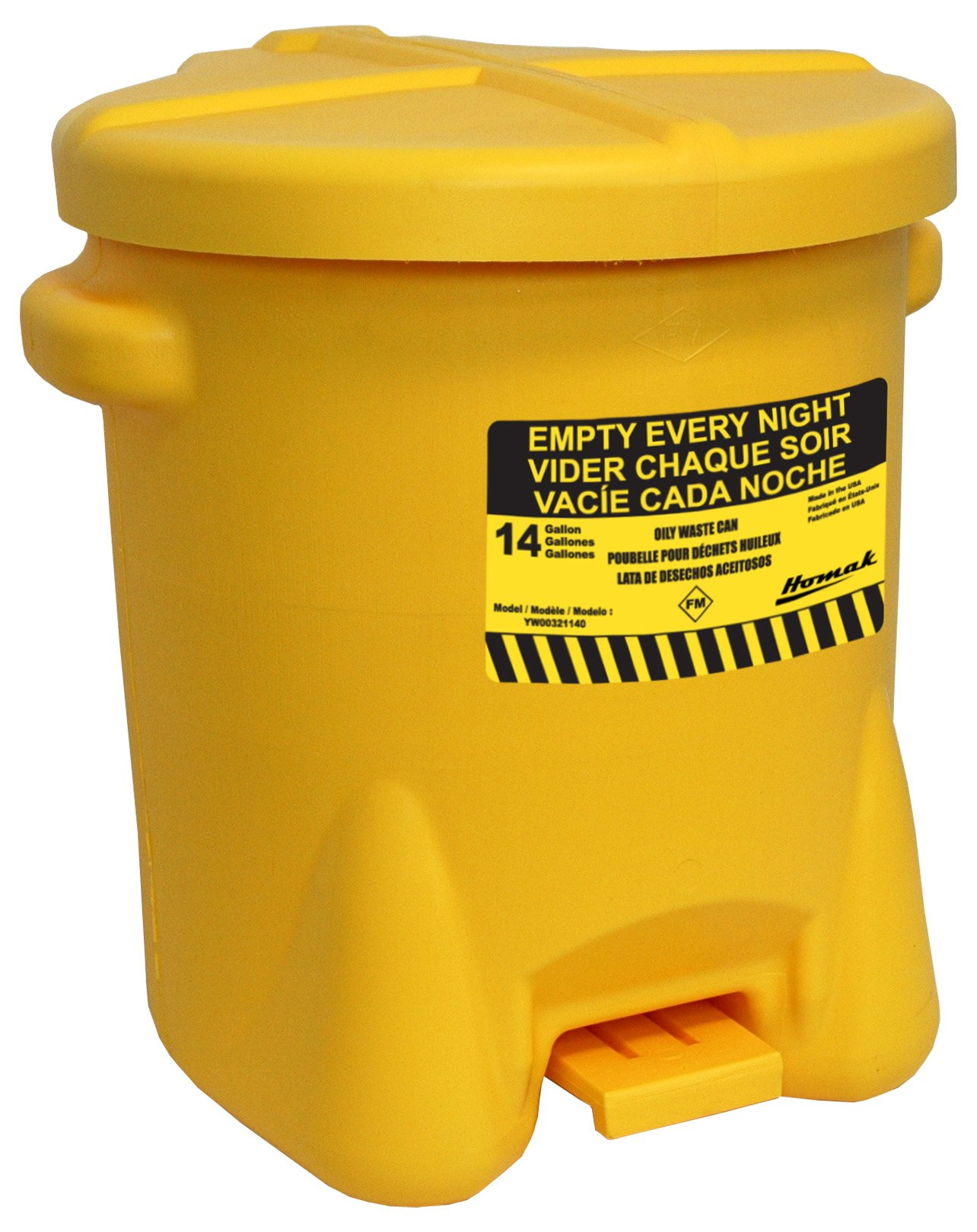 Homak H2PRO 14-Gallon Poly Oil/Paint Rag Safety Can, YW00321140