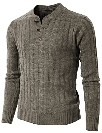 H2h Mens Casual Slim Fit Henley Knitted Pullover Sweaters Basic