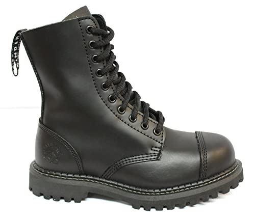 Grinders Original Smart Black Military Style Combat Boots with 10 Eyelets  and Steel Toe Cap