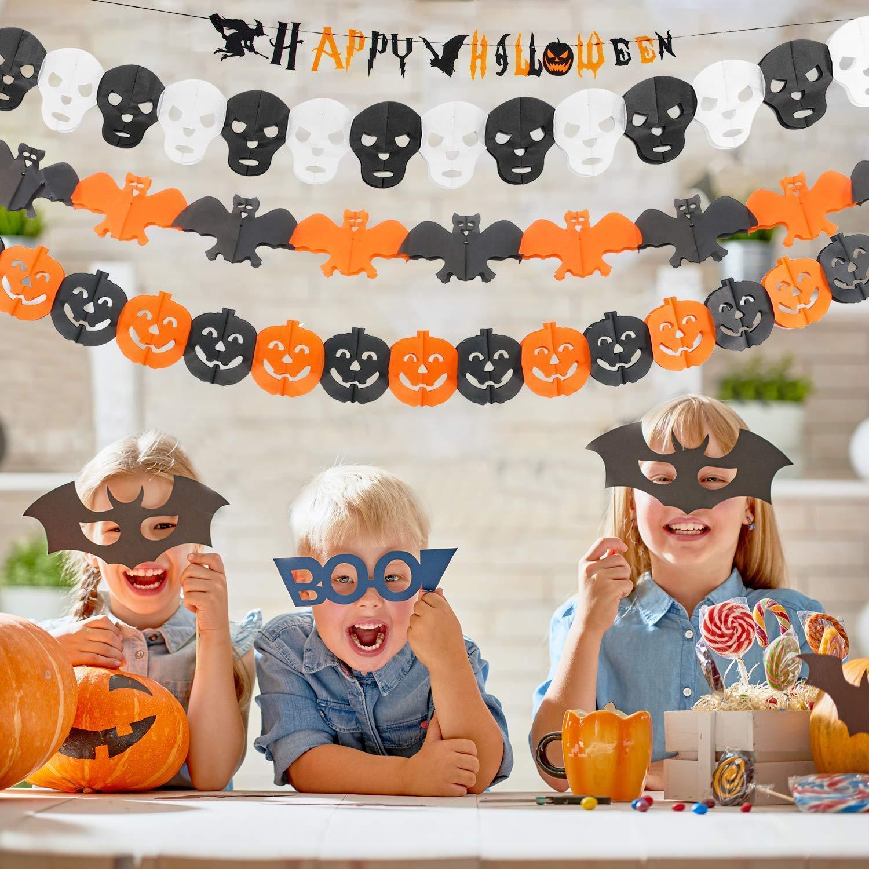 Halloween Decoration Set Muscccm Paper Garlands Pumpkin Banner Halloween Banner for Home Indoor//Outdoor Halloween Decorations with Halloween Paper Garlands Pumpkin Spider Bat Shape