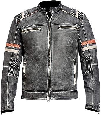 Mens Biker Vintage Motorcycle Black Distressed Cafe Racer Leather Jacket
