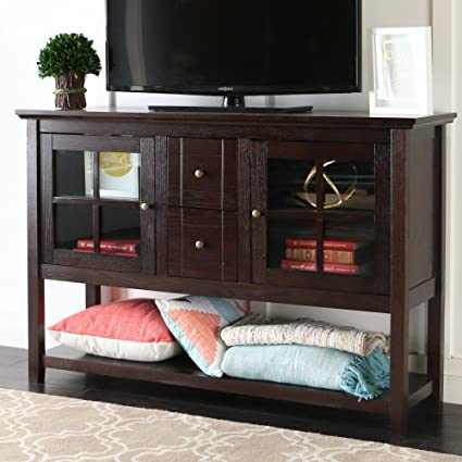 Amazoncom WE Furniture 52 Console Table Wood TV Stand Console
