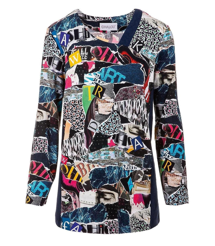 Chalou Damen Shirt Langarmshirt Longshirt mit Muster Druck Übergröße Blau Bunt 52 54 56 58 60