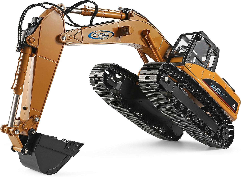 s-idee/® Teilmetall Bagger S16800 1:16 23 Kanal mit Rauch und Sound Metallbagger WL16800 mit Akku 7.4V