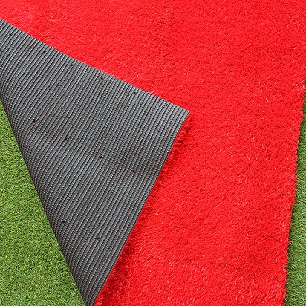 WENZHEゴルフパッティング練習用マットゴルフマットグリーングラスハイシミュレーショングリーン/レッド、幅1メートル、グラスシルク長さ12mm(カラー:レッド、サイズ:1×1m)   B076M3M7DD