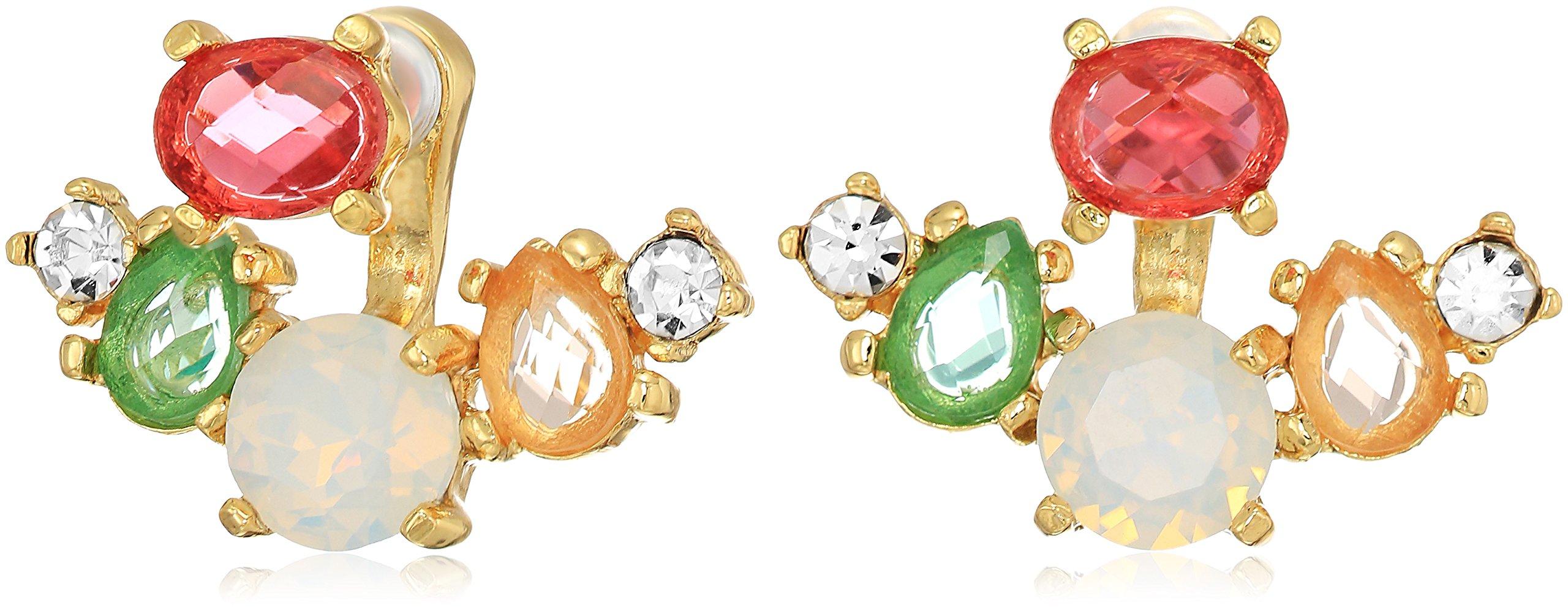 Badgley Mischka Womens Multi Cluster Gold Tone Jacket Drop Earrings, One Size