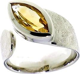 """Luxeriöser Silberring mit Citrin im Marquise Schliff 14x7mm rhodiniert, Serie""""Ocean"""""""