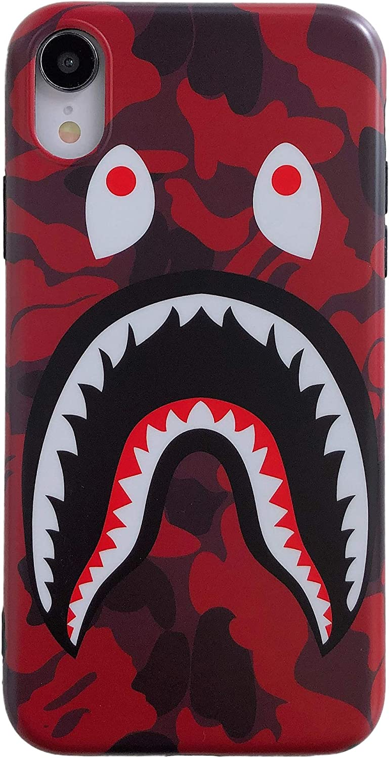 Yooke iPhone XR Street Fashion Shark Face Soft Case,IMD Tech Sleek Texture Anti-Scratch Ultra-Thin Shockproof Case for iPhone Xr 6.1inch (Camo Red)