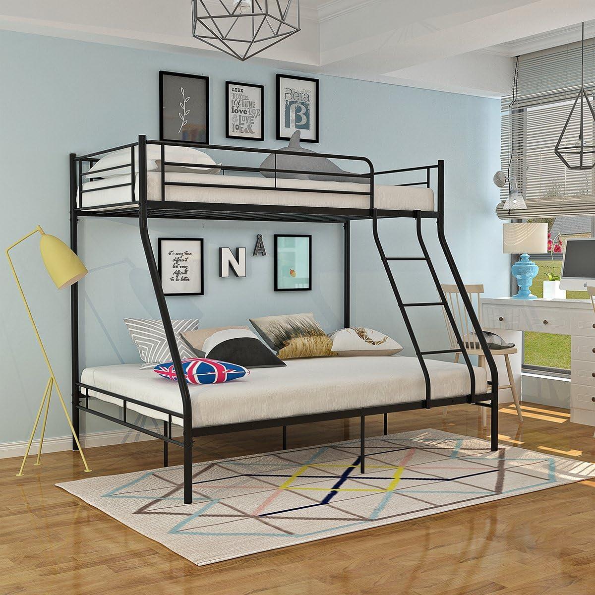 Panana Triple 3 Sleeper Metal Bunk Bed Top Single Bed Bottom Double Bed For Children Kids Bedroom Black Amazon Co Uk Kitchen Home