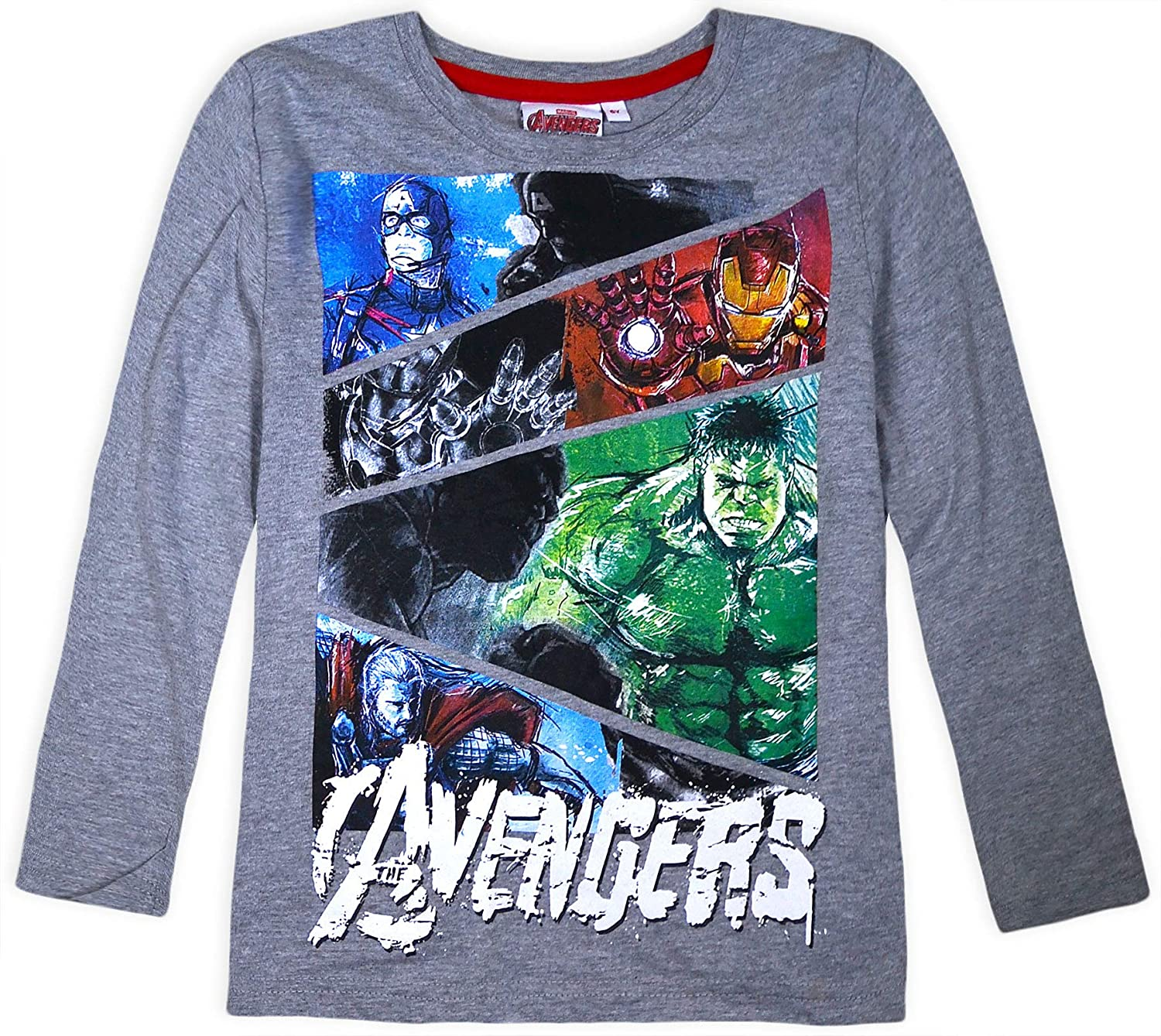 JollyRascals Boys Avengers Top Long Sleeve Marvel Jumper Kids New Cotton T-Shirt Characters Captain America Thor Hulk Iron Man Ages 6 8 10 12 Years