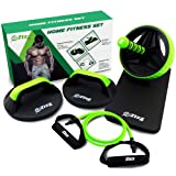 Zizz Fit Home Gym Equipment - Abs Roller wheel, Rotating Push Up Bars & Resistance Tube with handles - Core, Ab & Stretch fitness training set for a perfect ripped 6 pack stomach and toned body