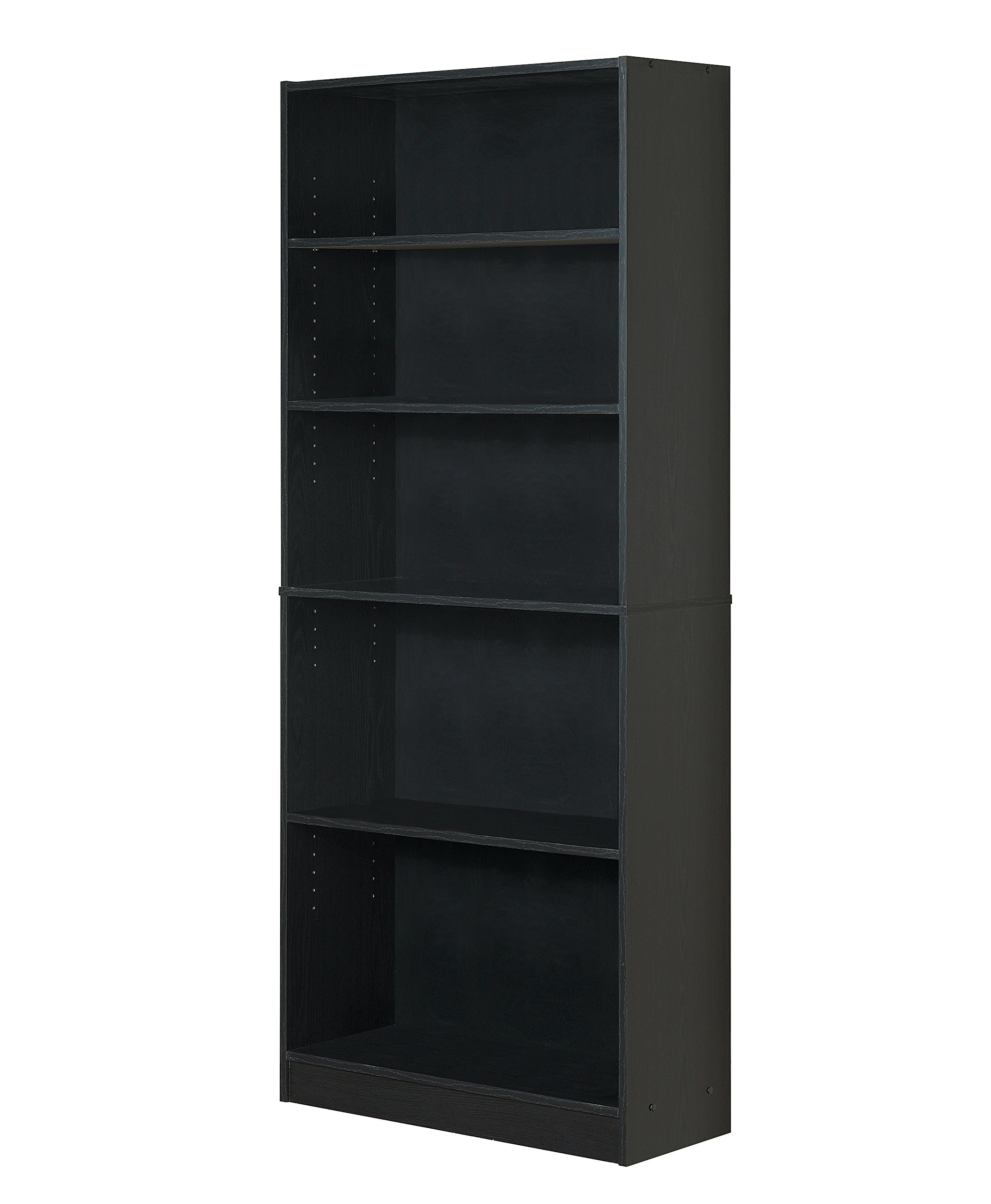 Mylex Five Shelf Bookcase; Three Adjustable Shelves; 11.63 x 29.63 x 71.5 Inches, Black, Assembly Required (43074)
