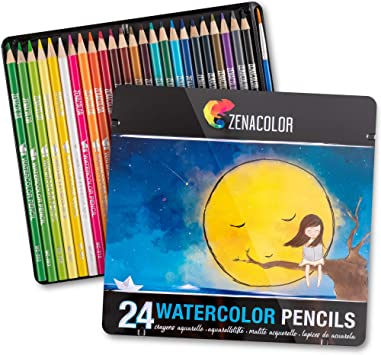 Amazon Com 24 Watercolor Pencils Professional Numbered With A Brush And Metal Box 24 Water Color Pencils For Adults And Adult Coloring Books Watercolor Pencil For Kids Colored Pencils Art Set Office Products